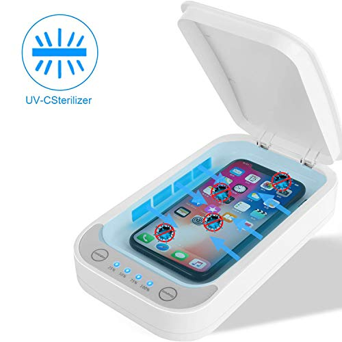 Black Cell Phone Sterilizer,FateFan Portable Smart Phone Disinfector with Wireless Charging Function,Dual UV Lights Rapid Disinfector Box Clean for Any Small Items Wireless Charging Function
