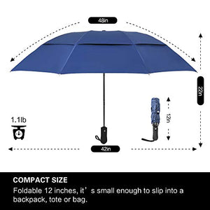 Prodigen Inverted Folding Umbrella Travel Umbrella Windproof Compact Umbrella Inside Out Umbrella Reversible Reverse Umbrella Automatic Open and Close Umbrella for Woman & Man UV Sun & Rain (Blue) Double Canopy Upgrade-Blue