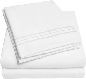 1500 Supreme Collection Extra Soft RV Queen Sheets Set, White - Luxury Bed Sheets Set with Deep Pocket Wrinkle Free Hypoallergenic Bedding, Over 40 Colors, RV Queen Size, White