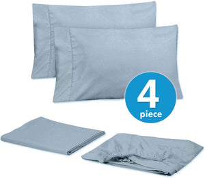 Sweet Home Collection Quality Deep Pocket Bed Sheet Set - 2 EXTRA PILLOW CASES, VALUE, Twin XL, Misty Blue, 4 Piece