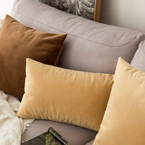 MIULEE Pack of 2 Velvet Pillow Covers Decorative Square Pillowcase Soft Soild Chocolate Cushion Case for Sofa Bedroom Car 22 x 22 Inch 55 x 55 cm