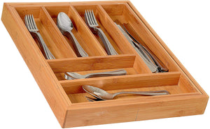 Home-it Expandable use for, Utensil Flatware Dividers-Kitchen Drawer Organizer-Cutlery Holder, Bamboo