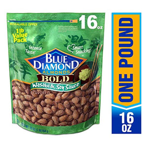 Blue Diamond Almonds, Bold Wasabi & Soy Sauce, 16 Ounce (Pack of 1) 10041570055370 16oz_Bags Na