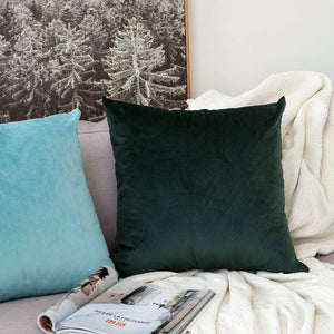 MIULEE Pack of 2 Velvet Soft Soild Decorative Square Throw Pillow Covers Set Cushion Case for Sofa Bedroom Car 16 x 16 Inch 40 x 40 cm Aqua Green