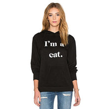 Load image into Gallery viewer, Germinate Cat Ear Black Hoodies Women Pullover Pocket Pouch Aesthetic Cute Graphic Hooded Sweatshirts Sweaters Plus Size Oversized (Black, S) WY07 Small