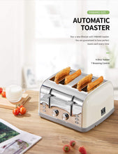 Load image into Gallery viewer, Yabano 4 Slice Toaster, Retro Bagel Toaster with 7 Bread Shade Settings and Warming Rack, 4 Extra Wide Slots, Defrost/Bagel/Cancel Function, Removable Crumb Tray, Stainless Steel Toaster, Silver