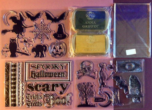 NEW Anna Griffin HALLOWEEN Clear Stamps Set 28 pieces + BONUS Ink Pads RARE VHTF