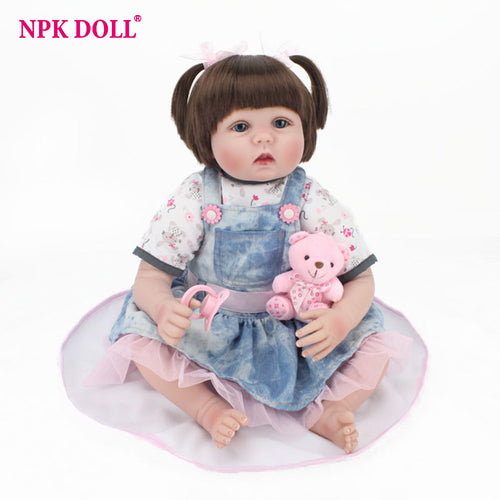 55cm Real Looking Dolls Reborn Handmade Rooted Hair Blue Eyes Girl Doll Silicone Vinyl Dolls Kids Playmate Toys Birthday Gift