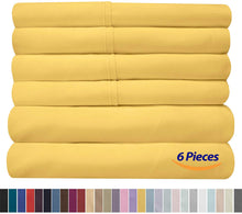 Load image into Gallery viewer, Full Size Bed Sheets - 6 Piece 1500 Thread Count Fine Brushed Microfiber Deep Pocket Full Sheet Set Bedding - 2 Extra Pillow Cases, Great Value, Full, Yellow