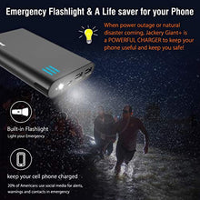 Load image into Gallery viewer, Jackery Portable Charger Giant+ 12000mAh Power Outdoors Dual USB Output Battery Pack Travel Backup Power Bank with Emergency LED Flashlight for iPhone, Samsung and Other Smart Devices - Black F260BLK