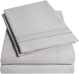 1500 Supreme Collection Bed Sheets Set - Luxury Hotel Style 4 Piece Extra Soft Sheet Set - Deep Pocket Wrinkle Free Hypoallergenic Bedding - Over 40+ Colors - King, Silver
