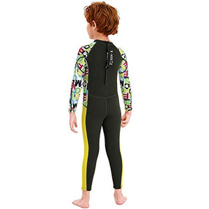 NATYFLY Kids Wetsuit,2.5mm Neoprene Thermal One Piece Swimsuit,Boys Girls and Toddler Wet Suits for Scuba Diving,Youth Full Suit (Dark Green, Small/2-3Years Old)
