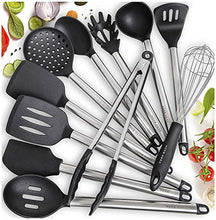 Load image into Gallery viewer, Home Hero 11 Silicone Cooking Utensils Kitchen Utensil Set - Stainless Steel Silicone Kitchen Utensils Set - Silicone Utensil Set Spatula Set - Silicone Utensils Cooking Utensil Set Salad Tongs n/a Black