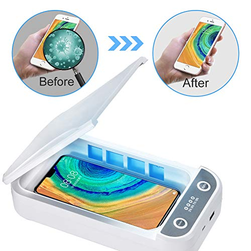 UV Cell Phone Sanitizer, Large Smartphone Sterilizer Box, Aromatherapy Disinfector, UV Light Phone Cleaner with USB Charging for iPhone Android Mobile Phone, AirPods Watch Jewelry Beauty by Mocare White
