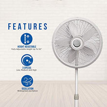 Load image into Gallery viewer, Lasko 1820 18″ Elegance & Performance Adjustable Pedestal Fan, White - Features Oscillating Movement Tilt-back Fan Head