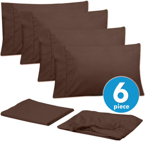 Sweet Home Collection 6 Piece 1500 Thread Count Brushed Microfiber Deep Pocket Sheet Set - 2 EXTRA PILLOW CASES, VALUE, RV Short Queen, Brown