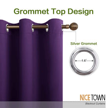 Load image into Gallery viewer, NICETOWN Thick Blackout Curtain and Drapes - Thermal Insulated Grommet Top Window Draperies for Bedroom, Block Out Light Curtain Panel (Royal Purple, 42 x 90, Pack of 2)