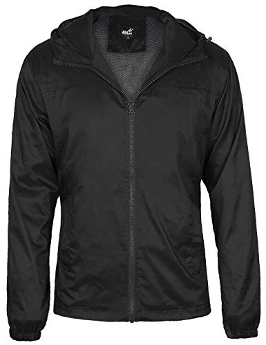 4HOW Men's Casual Water Resistant Jacket Hooded Windbreaker Breathable Lightweight Stylish Outdoor Quick Dry Rain Coat Black US XL 312s91202c04XL X-Large