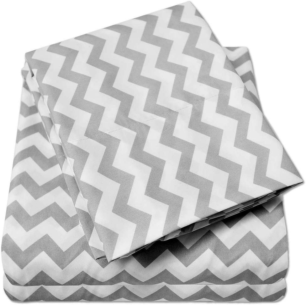 1500 Supreme Collection Bed Sheets - Luxury Bed Sheet Set with Deep Pocket Wrinkle Free Hypoallergenic Bedding - 4 Piece Sheets - Chevron Print- King, Gray