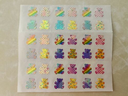 VTG 80s SANDYLION PEARLY OPAL TEDDY BEAR STICKERS LARGE SHEET RAINBOW DESIGNS