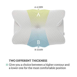 Coisum Back Sleeper Cervical Pillow - Memory Foam Pillow for Neck and Shoulder Pain Relief - Orthopedic Contour Ergonomic Pillow for Neck Support with Breathable Cover MFP001-Wht 21.65x15.75x4.33 inches White