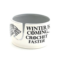 Load image into Gallery viewer, Lennymud Game of Thrones CROCHET Yarn Bowl - Winter is Coming Grey Inside White, Grey