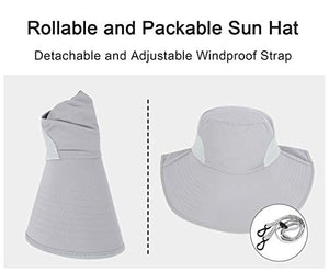 Toppers Womens Sun Hat Packable Neck Cover UPF 50- Wide Brim, Light Grey, Size One Size Ponytail_light Grey