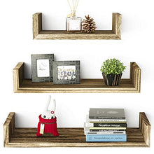 Load image into Gallery viewer, SRIWATANA Floating Shelves Wall Mounted, Solid Wood Wall Shelves, Torched Finish 8541858542 L: 16.7x4.7x3.9 in 1 Carbonized Black