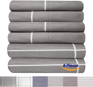 King Size Bed Sheets - 6 Piece 1500 Thread Count Fine Brushed Microfiber Deep Pocket King Sheet Set Bedding - 2 Extra Pillow Cases, Great Value, King, Window Pane Gray