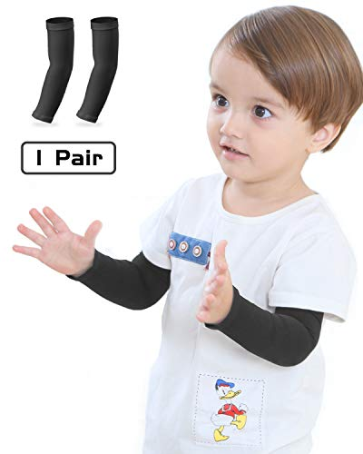 Newbyinn Arm Sleeves for Kids, Toddlers 1 Pair/ 3 Pairs, Warmer Gloves UPF 50 UV Sun Protection Sleeves to Cover Arms Medium M-1 Pair Black