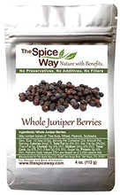 Load image into Gallery viewer, The Spice Way Juniper Berries - Whole berries, pure, no additives, Non-GMO, no preservatives, | 4 oz | great for cooking and for spicing tea, syrup, meat, beef, turkey, soups and more. resealable bag 4 Ounce