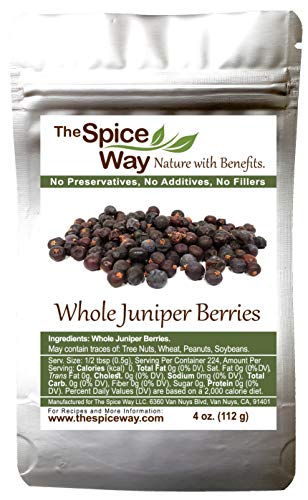 The Spice Way Juniper Berries - Whole berries, pure, no additives, Non-GMO, no preservatives, | 4 oz | great for cooking and for spicing tea, syrup, meat, beef, turkey, soups and more. resealable bag 4 Ounce