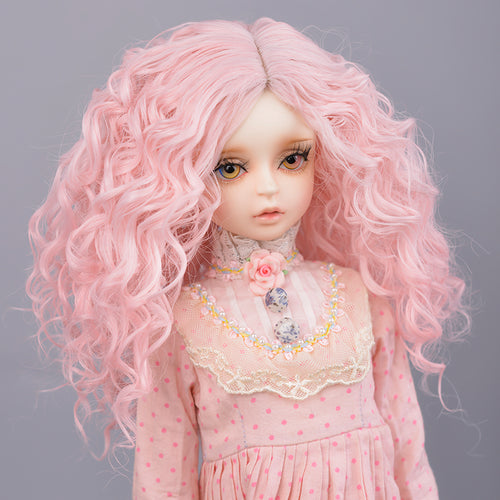 Muziwig  Silver gray Bob long Straight and curly pink Bangs 1/3 1/4 BJD Wigs High Temperature Fiber for Dolls hair free shipping