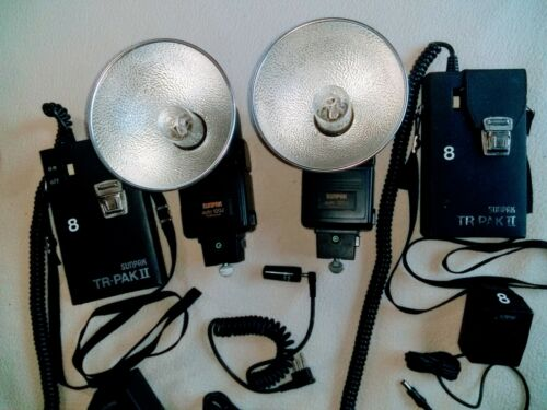 TWO Sunpak 120j Flash Kits WITH TR-PAKS BATTERYS TESTED with extras!! AWESOME!!