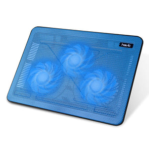 havit HV-F2056 15.6-17 Inch Laptop Cooler Cooling Pad - Slim Portable USB Powered (3 Fans) (Blue)