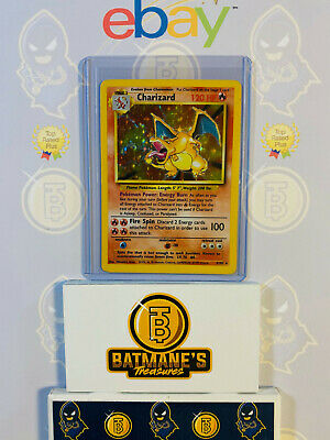 Charizard 4/102 MP Played Base Set 1999 WOTC Holofoil Rare Holo Pokemon Card