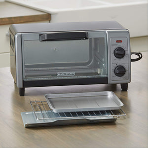 BLACK+DECKER  4-Slice Toaster Oven with Easy Controls, Stainless Steel, TO1705SB