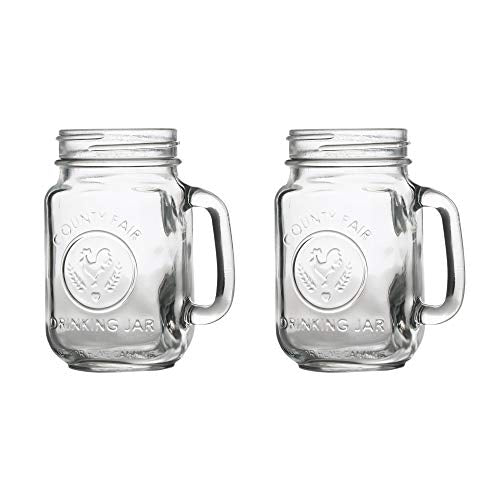 Servette Home County Fair Mason Jar Drinking Glasses with Handles - Set of 2...