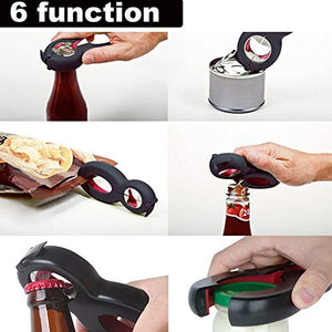 ACGN Multi Function, 6 in 1 5-in-1 Bottle Opener, All in One Gripper Can Wine Beer Lid Twist Off Jar, 4 x 4 x 0.8 inches, Red na