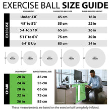 Load image into Gallery viewer, URBNFit Exercise Ball (Multiple Sizes) for Fitness, Stability, Balance & Yoga - Workout Guide & Quick Pump Included - Anti Burst Professional Quality Design