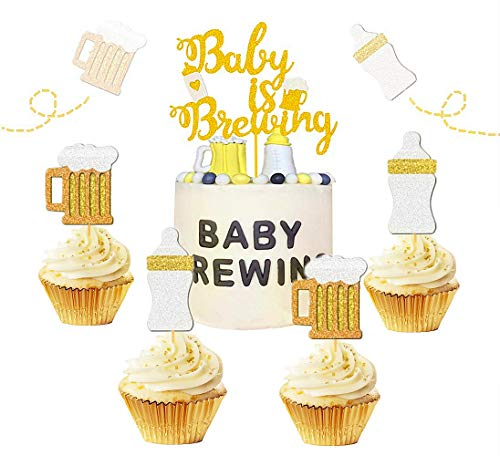 JeVenis Set of 25 Baby Is Brewing Cake Topper Baby Is Brewing Baby Shower Cupcake Toppers Beer Cupcake Toppers Beer Themed Baby Shower Decor Beer Baby Gender Reveal Decoration