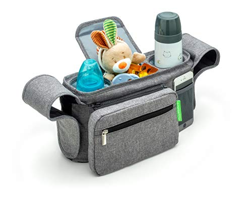 Ethan & Emma Gray Universal Stroller Organizer with Insulated Cup Holders - Extra Storage for Keys, Phone, Toys, Diapers, Bottles - Detachable Pouch - Great Baby Shower Gift - Smart Moms On The Go Grey