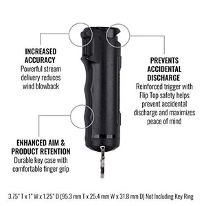 SABRE RED Pepper Spray Keychain & Stun Gun for Self-Defense — Police Strength OC Spray Plus Rechargeable, Small Stun Gun with Flashlight & Holster – Flip Top is Easier & Faster to Use Under Stress S5-F15-BKOC-AMZ Black Pepper Spray & Stun Gun