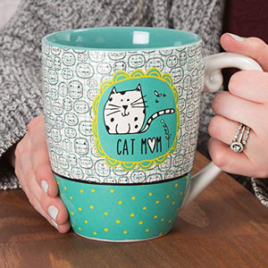Pavilion Gift Company It's Cats & Dogs Cat Mom Ceramic Extra Large Coffee Mug Tea Cup, 20 oz, Teal 78108