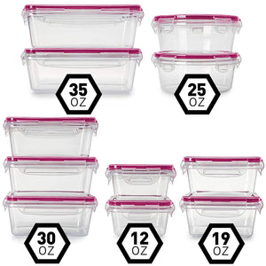 Fullstar (11 Pack) Food Storage Containers with Lids - Red Plastic Food Containers with Lids - Plastic Containers with Lids - Airtight Leak Proof Easy Snap Lock and BPA-Free Plastic Container Set