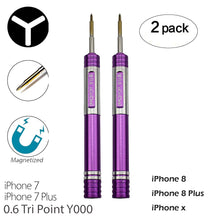 Load image into Gallery viewer, 2 Pack Screwdrivers for iPhone 7 Plus Y000 0.6mm Triwing Tripoint Screwdriver Ogodeal Magnetic Y Tip Screwdriver for iPhone X 7 7 Plus 8 8 Plus Tri Wing Tip Tri Point Screwdriver