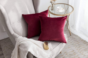 MIULEE Pack of 2 Velvet Pillow Covers Decorative Square Pillowcase Soft Solid Cushion Case for Sofa Bedroom Car 26 x 26 Inch Wine Red