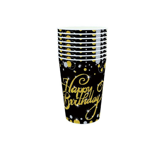 Black Gold Paper Disposable Tableware 30th 40th 50th 60th 70th 80th  Birthday party Anniversary Wedding Party Decoration