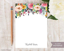 "Load image into Gallery viewer, Curio Press MULTI FLOWER NOTEPAD - Personalized To Do List Hot Pink Colorful Pretty Womens Mom Grandma Aunt Co-worker Stationery/Stationary Note Pad 5"" x 7"" or 8"" x 10"" Will be printed in colors shown"