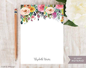 "Curio Press MULTI FLOWER NOTEPAD - Personalized To Do List Hot Pink Colorful Pretty Womens Mom Grandma Aunt Co-worker Stationery/Stationary Note Pad 5"" x 7"" or 8"" x 10"" Will be printed in colors shown"
